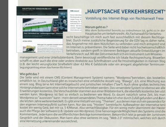 Vorstellung in den Mitteilungen des Aachener Anwaltvereins