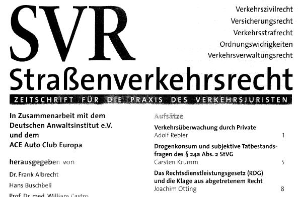Lesetipp: Otting, RDG und die Klage aus abgetretenem Recht, SVR 2011, S. 8